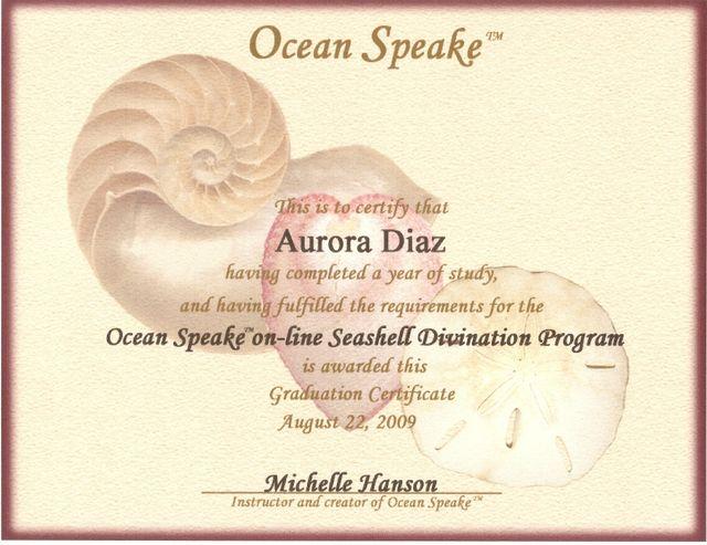 Certificado de 1 año de Estudios del Oráculo Ocean Oracle